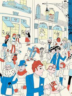 Ilustración para un artículo sobre la Shopping Night de Barcelona, publicado en la revista Barcelovers. (Dirección artística: Lamosca, Ilustración: Candela Ferrández)