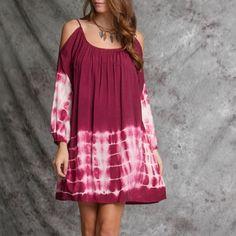 Tie dye cold shoulder dress Wine color tie dye cold shoulder dress Dresses
