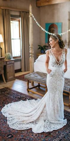 Wonderful Perfect Wedding Dress For The Bride Ideas. Ineffable Perfect Wedding Dress For The Bride Ideas. Backless Lace Wedding Dress, V Neck Wedding Dress, Lace Mermaid Wedding Dress, White Wedding Dresses, Mermaid Dresses, Dress Lace, Lace Chiffon, Bride Dresses, Gown Wedding