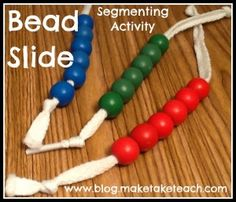 My favorite tool for teaching phoneme segmentation. Video on how to make and use the bead slide during small group instruction.