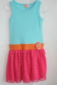 Cute idea for a dress made with this ruffle fabric.  I love this color combo too!