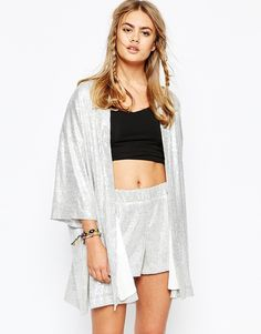Image 1 ofJaded London Kimono In Holographic Sequin Co-Ord