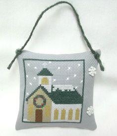 Christmas Church Cross Stitched Ornament by luvinstitchin4u on Etsy