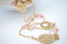 Long Peach Pink and Gold Beaded Necklace Gold by 3MariesDesigns, $65.00