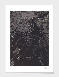 """Amsterdam City Map"", Numbered Edition Fine Art Print by Luis Dilger - From $42.00 - Curioos"