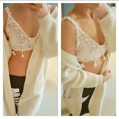 Boho Crochet Bralette - Crop Top  Hand crocheted bralette or cropped top in natural white. 100% cotton yarn. Bust fits up to 36C. Neck tie and bust tie ribbons for adjustability. Brand new. Boutique Tops Crop Tops