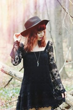 black lace boho style dress with a cute hat to protect your skin from the burning sun. Fashion Mode, Dark Fashion, Grunge Fashion, Gothic Fashion, Boho Fashion, Fashion Outfits, Womens Fashion, Spring Fashion, Grunge Style