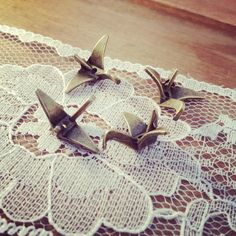 6 - Paper Crane Charms, Antique Bronze, Origami Bird, Vintage Jewelry Supplies. $3.00, via Etsy.