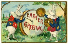 Easter Image - Fancy Rabbits with Drum - The Graphics Fairy