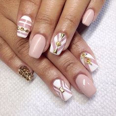 Dainty light pink nails with gold glam