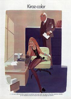 Edmond Kiraz 1973 Les Parisiennes, Sexy Secretary and the Boss,  Kiraz-color illustrated by Edmond Kiraz | Hprints.com