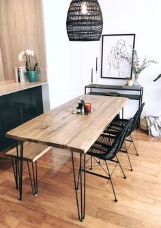 Reclaimed Wood & Metal Dining Table - home/home Hairpin Dining Table, Dining Table With Bench, Wooden Dining Tables, Modern Dining Table, Reclaimed Wood Dining Table, Mango Wood Dining Table, Diy Dining Room Table, Industrial Dining Tables, Small Dining Table Apartment