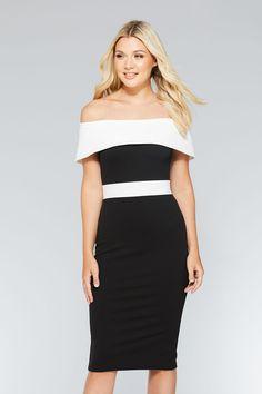 Vestido Midi Negro y Blanco con Cuello Bardot
