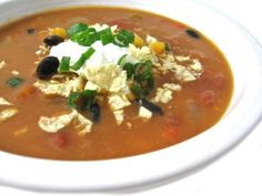Skinny Chicken Enchilada Soup (Crock Pot or Stove Top) with Weight Watchers Points | Skinny Kitchen