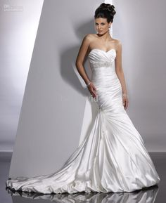 Wholesale Ivory Vintage 2011 Wedding Dresses Bridal Gown Adorae JSM1307 Long Beaded A-line Sweetheart Ruched, Free shipping, $147.15-192.05/Piece | DHgate