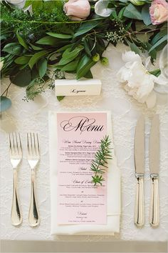 blush wedding menu