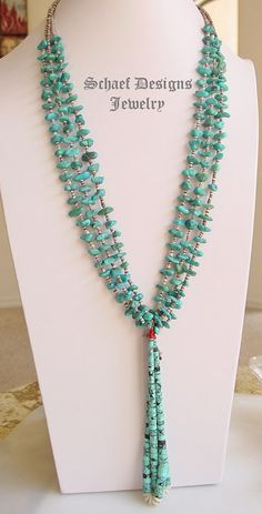 Native American 3 Strand Turquoise Nugget necklace with Heishi Jaclas