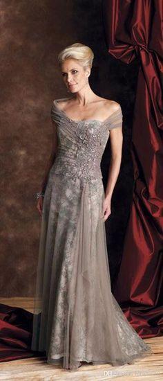 Elegant Grey Lace Mother Of Bride Evening Dresses Floor Length Off The Shoulder A Line Pick Ups Appliques Mother Dresses