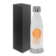 Therma Vacuum Bottle - Premium quality 500ml double wall, vacuum insulated stainless steel bottle with a secure screw cap. Offers exceptional performance by keeping drinks cold for 24 hours or hot for up to 12 hours. Nicely presented in a black gift box. Eco Safe: Stainless steel does not require a plastic liner ensuring a chemical and odour free beverage. It has an indefinite life span which keeps your logo in the public arena for longer and limits the use of disposable plastic bottles.