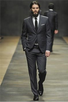 I like the dark grey suit. Hermes grey suit