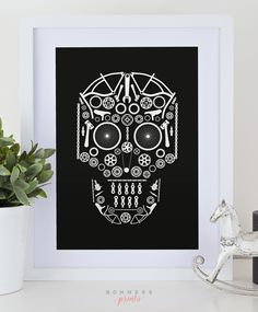 Skull made of bicycle bike parts graphic design art print