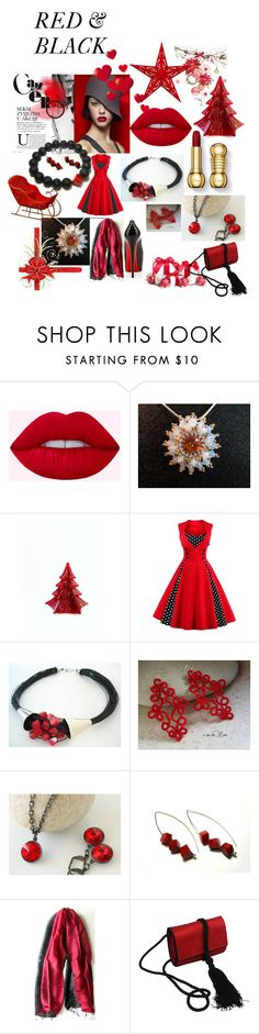 """Red & Black"" by anna-recycle ❤ liked on Polyvore featuring Salvatore Ferragamo and vintage"