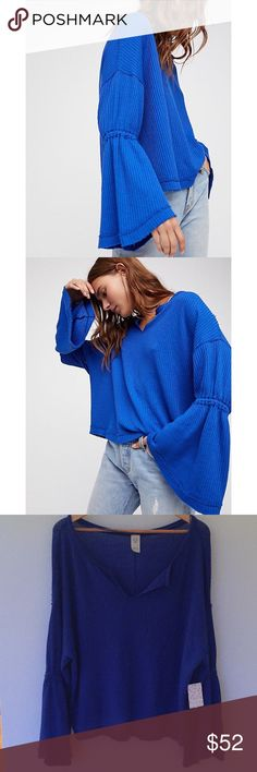 Free People Dahlia Thermal NWT. Free People Dahlia Thermal in Sapphire Blue. Long Sleeved Featuring Bell Shaped Sleeves. Front Vent at Neckline. Ultra Soft and Stretchy Fabrication. Relaxed Fit. Free People Tops