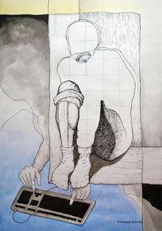 """HikikoMORi"", watercolors and ink on paper."
