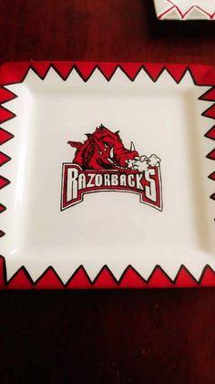 Arkansas Razorbacks hand painted plate