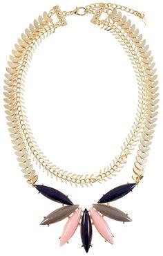 Pink and Navy Grecian Necklace | $12 | jewelboxonline.com