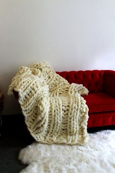 03f53a0d416 Large Chunky Knit Wool Blanket Arm Knit Blanket - Natural White - 100% Merino  Wool