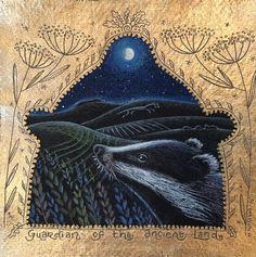 Badger. Pencil and 22ct gold. Hannah Willow