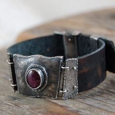 MZ STUDIO - SILVER ,RUBY,LEATHER