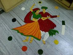 Dancing Man Woman Rangoli