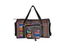 Travel Luggage Leather crossbody bag Embroidered duffel by IKALA