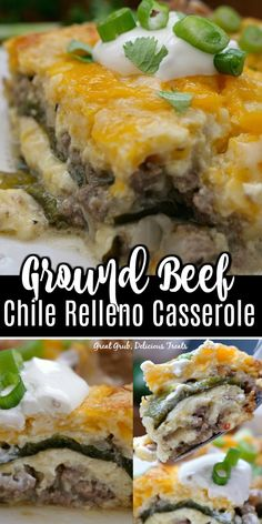 Ground Beef Chile Relleno Casserole is a delicious Mexican food recipe made with fresh roasted poblano peppers, cheese, eggs and ground beef. Poblano Recipes, Green Chili Recipes, Mexican Food Recipes, Dinner Recipes, Ground Beef Recipes Mexican, Mexican Desserts, Pepper Recipes, Drink Recipes, Pablano Pepper Recipe
