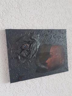 Mischtechnik+Kunst+Bild+Unikat+Steampunk+Vintage+Acryl+Abstrakt+Drachen+30x40+cm