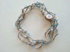 #collana / #girocollo / #braccialetto in fibra naturale e perline di vetro azzurre argento e bianche / #necklace #bracelet : Collane di #elenalucc
