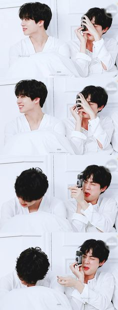 Look at jin😂 taking pictures of his hot son Hoseok, Seokjin, Namjoon, Yoongi, Taehyung, Steve Aoki, Bangtan Bomb, Bts Bangtan Boy, Jung Kook