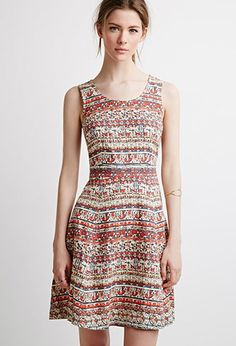 Contemporary Tile Print Fit & Flare Dress | Forever 21 - 2000132150