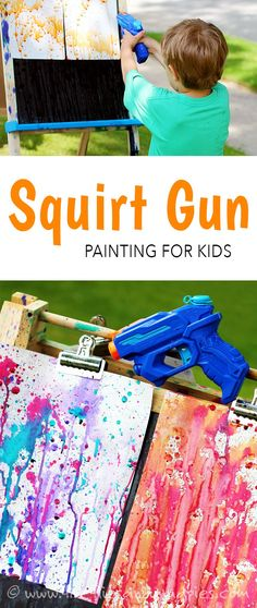 Kids will ask to do this again and again! & Fireflies and Mud Pies Squirt Gun Painting! Kids will ask to do this again and again! & Fireflies and Mud Pies The post Squirt Gun Painting! Kids will ask to do this again and again! Toddler Fun, Toddler Crafts, Toddler Party Ideas, Summer Boredom, Summer Kids, Spring Summer, Summer Games, Spring Art, Kids Summer Camps