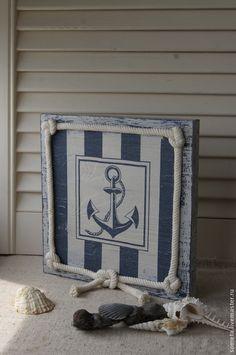 """панно """"Карибское море. Якорь"""" - панно,деревянное панно,якорь,морской стиль"""