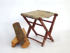 Vintage Camp Stool; Vintage Red Folding Camp Stool; Canvas and Wood; Canvas Camp Stool; Cabin Decor; Plant Stand; Boys Room Decor by PurpleMouseStories on Etsy