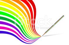Color pencil vector with rainbow Royalty Free Stock Photo