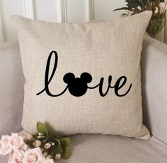 Disney Love Throw Pillow Cover Disney Home Canvas Pillow Cover Mickey Love Pillow Cover Rust Disney Diy, Casa Disney, Deco Disney, Disney Home Decor, Disney Magic, Disney Mickey, Disney House, Disney Room Decorations, House Decorations