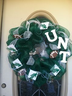 Green white university of north Texas unt deco mesh wreath by Veronica Arreola- jan 2014