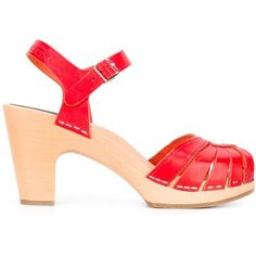 Swedish Hasbeens 'Fredrica' Sandals (12,385 INR) ❤ liked on Polyvore featuring shoes, sandals, swedish hasbeens sandals, red sandals, swedish hasbeens shoes, red shoes and swedish hasbeens