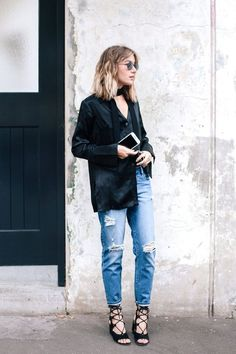 Whetheryou prefer classic skinny jeans or a comfy pair of boyfriend jeans, we've rounded up nine ways to style your distressed denim for any occasion. Match ripped skinnies with a basic tee and layer