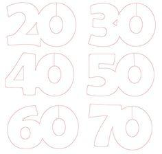 Voici la découpe à réaliser pour faire des marques place verre aux chiffres 20,30,40,50,60 et 70 ans. Il faut découper toutes les lignes rouges, le pied du verre se trouvant dans le zéro. Bonne découpe !