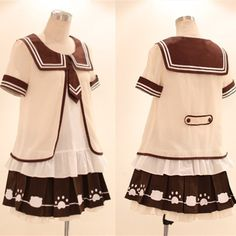 Kawaii Sailor Blouse With Tie + Bear Foot Print Pleated Skirt Free Ship SP140995 #amazing #PlusSize